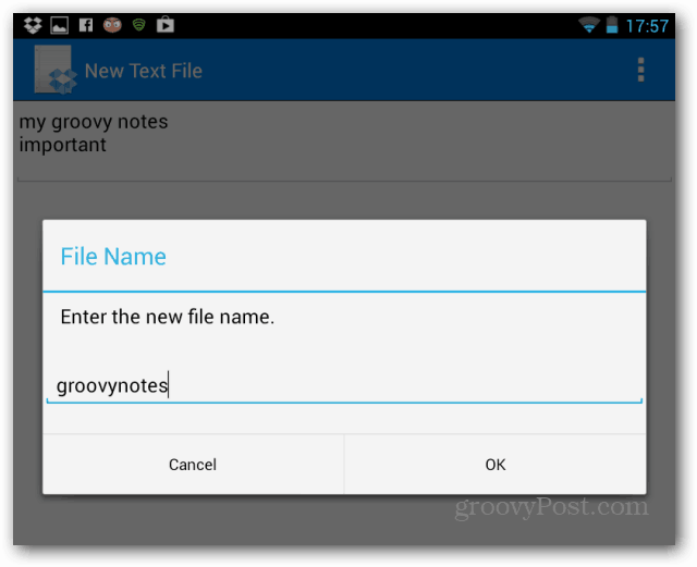 File save Dropbox text editor