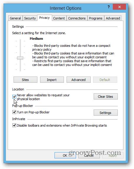 IE 10 Win8 Desktop privacy
