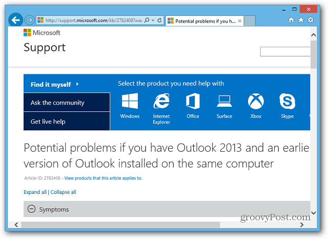 Microsoft Support Page
