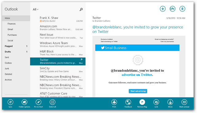 New Windows 8 Mail App Features