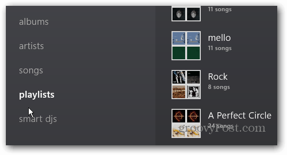 Playlists Menu item
