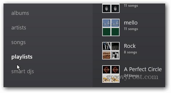 Playlists Menu item