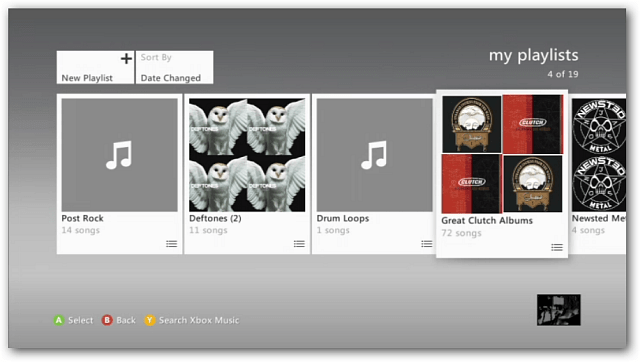 Playlists on Xbox 360