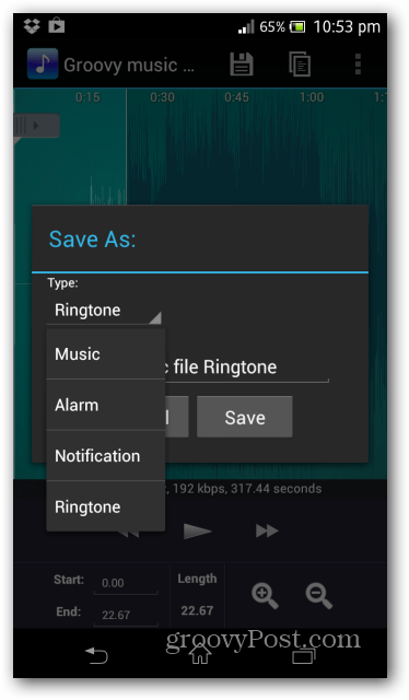 Ringtone Maker options save as