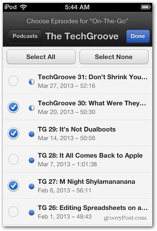Select individual episode
