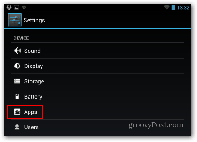 Settings apps notifications