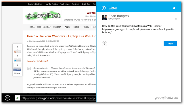 Share Website Twitter Windows 8