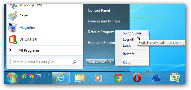 Switch user Start menu