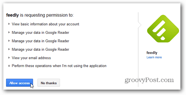 allow Feedly Access to Google Reader