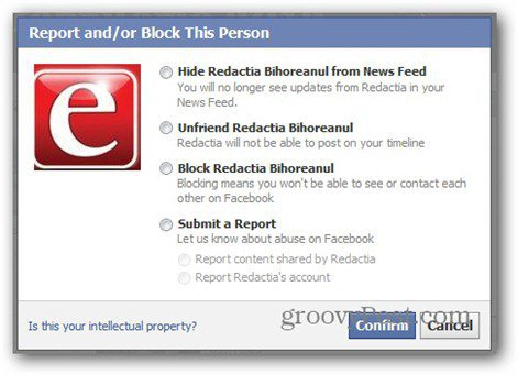 facebook report - block options