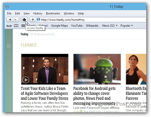 feedly on SAFARI
