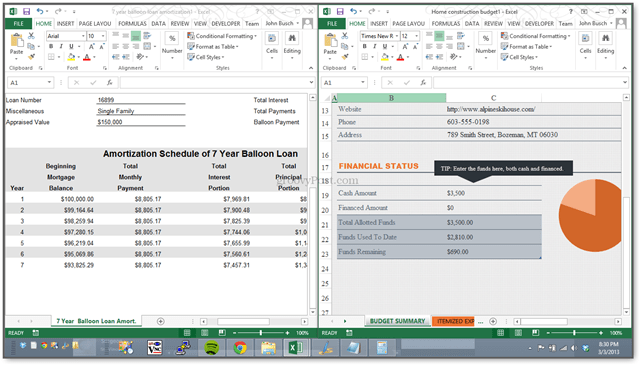 how to view two excel spreadsheets side-by-side