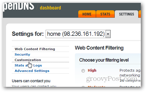 upload custom logos in opendns from settings -> customization