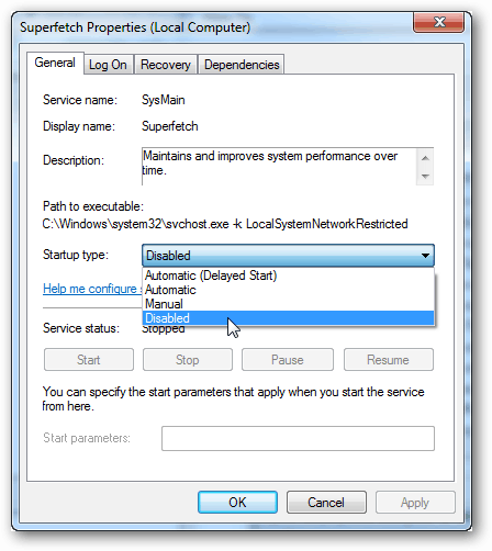 general startup type to disable and stop it