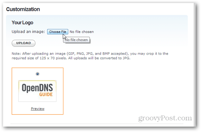 customize your logo in opendns