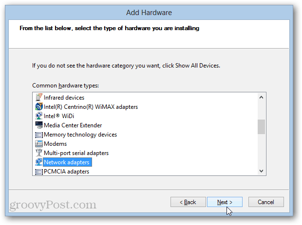 loopback adapter installation in windows 8