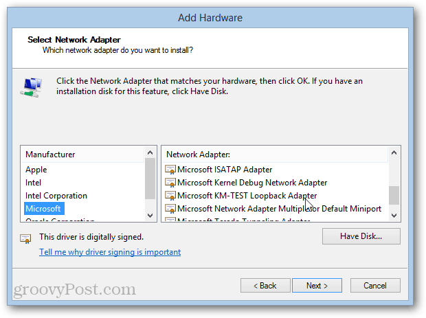 MS KM-test loopback adapter