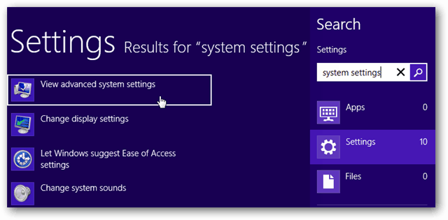 how to close system settings windows 8