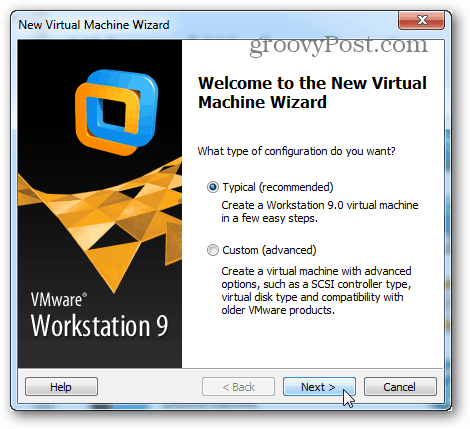 welcome to the new virtual machine wizard