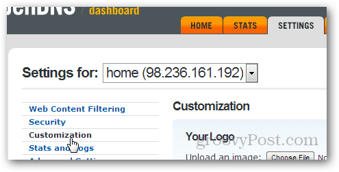 add custom greetings to opendns