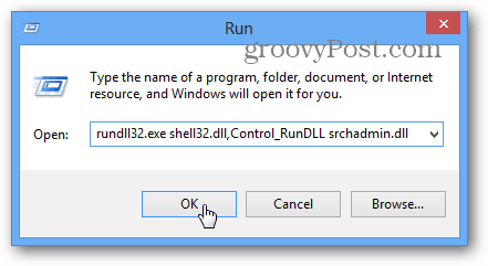 run indexing options from the Run window