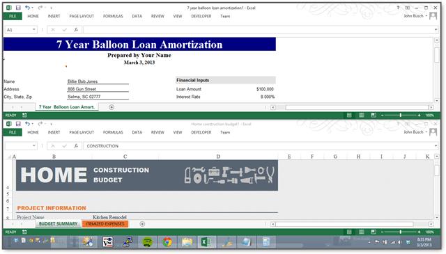 arrange excel spreadsheets horizontally