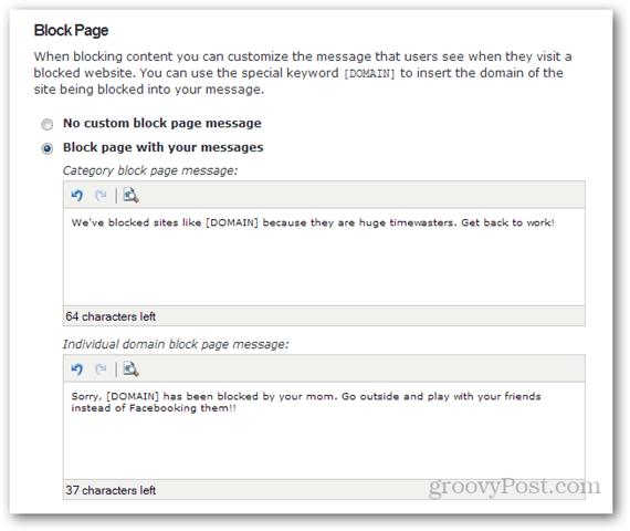 block page customization opendns