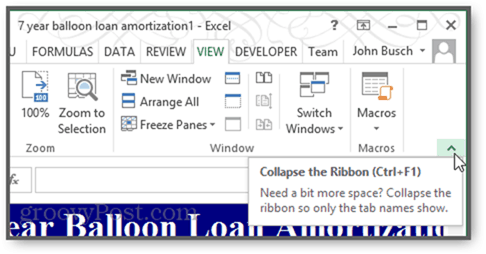 collapse ribbon in excel 2013