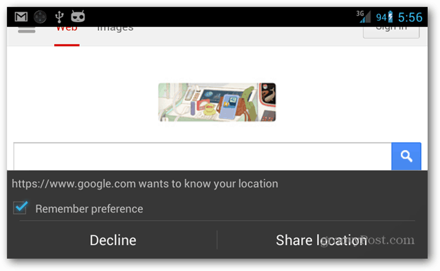 default google search page
