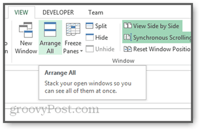 arrange windows tiled vertically cascade in excel 2013