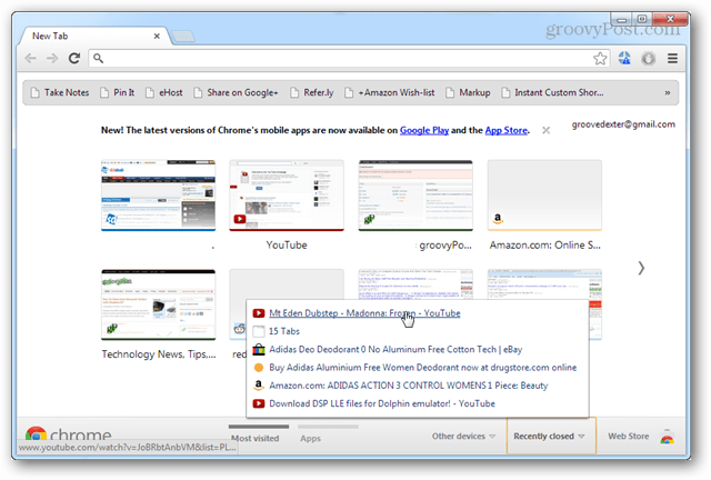 chrome recently closed tabs