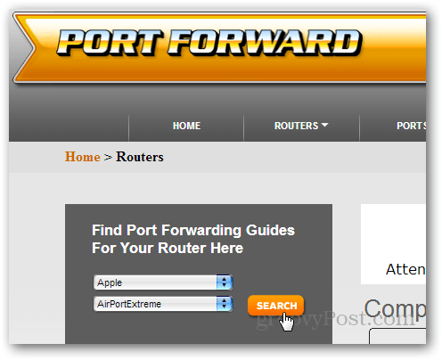 finding a router guide on portforward.com