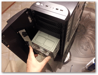 drive mounting bay, non-typical desktop case