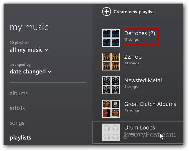 imported playlists showing at top