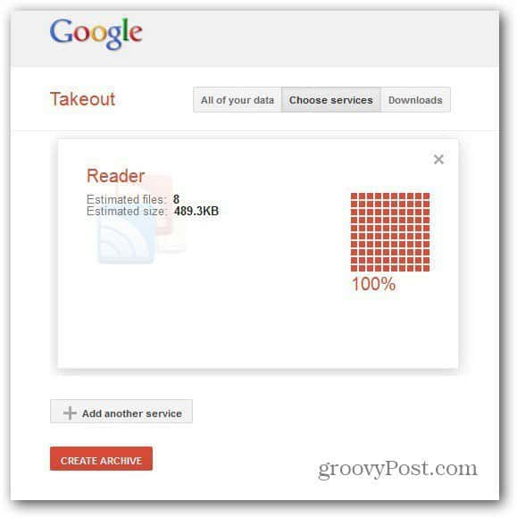 takeout google reader create archive