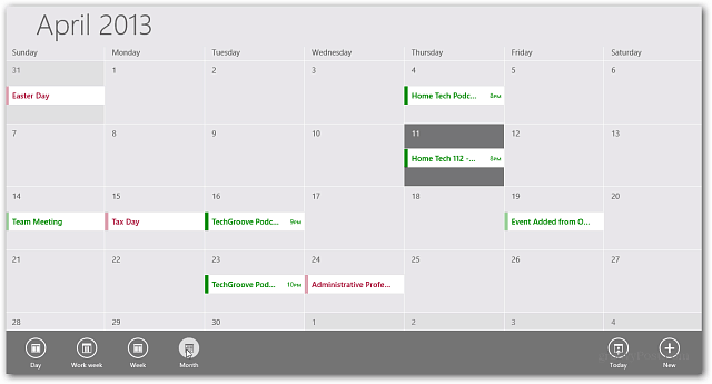 Calendar App Windows RT