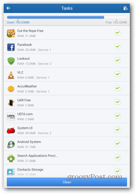 Clean Master Android tasks