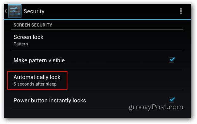 Goggle Nexus 7 lock screen automatically lock