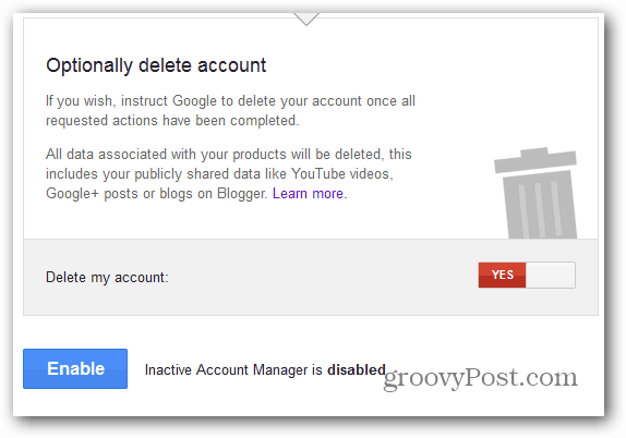 Google Inactive Account Manager enable delete
