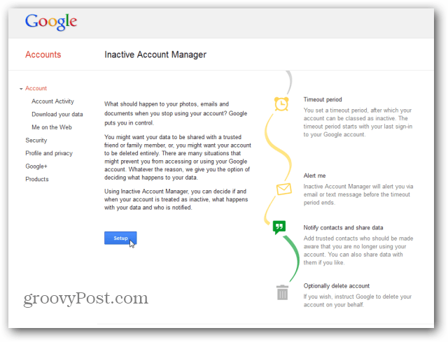 Google Inactive Account Manager main