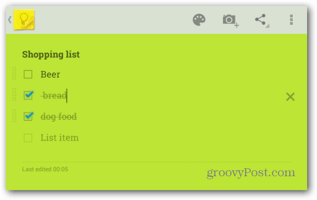 Google Keep shopping list