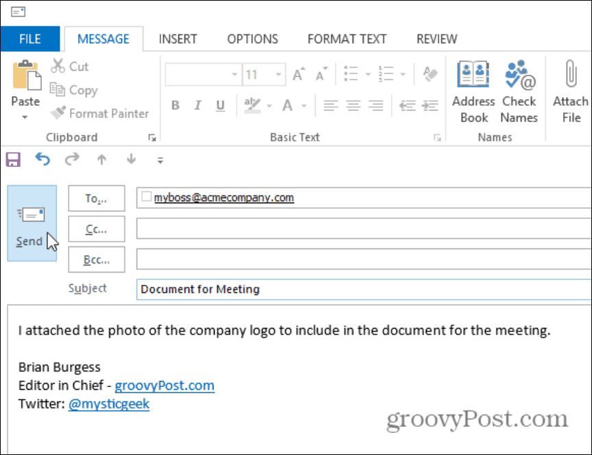 Outlook mail message