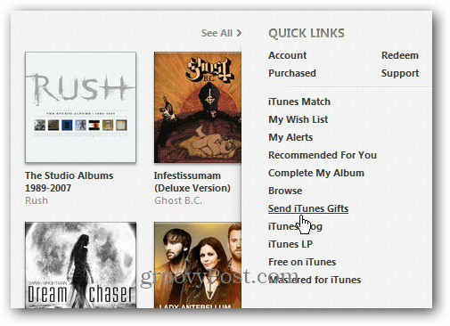 Quick Links in iTunes