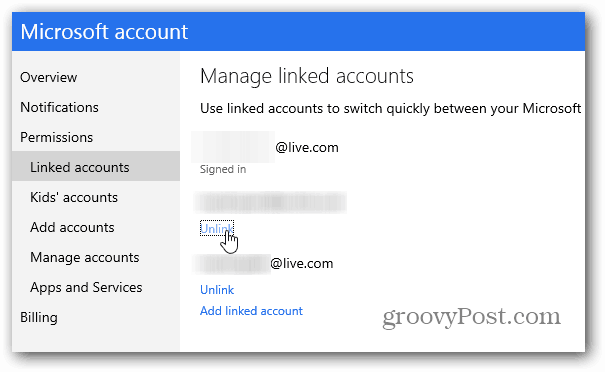 Unlink Accounts