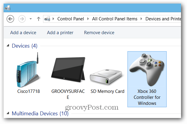 Xbox Controller Devices and Printers