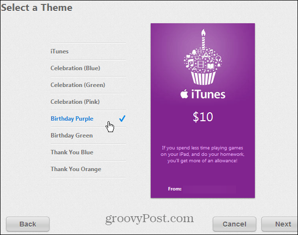 iTunes Gift Card Styles