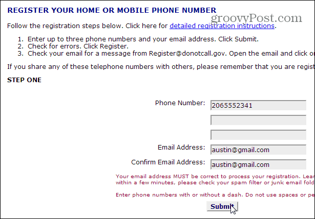 register number and email