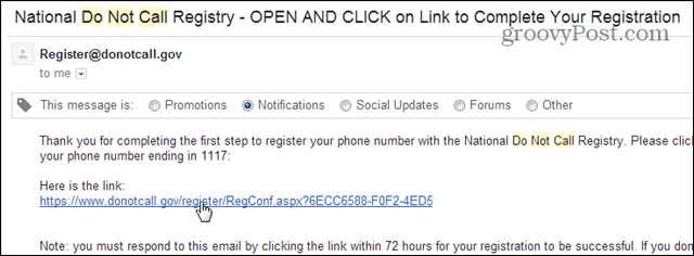 email confirmation donotcall list