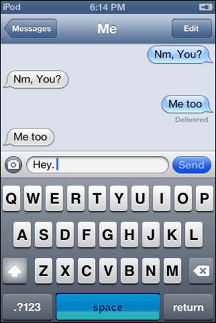 talking to myself on iphone