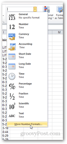 refresh number formatting in excel 2010